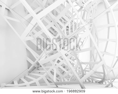 Abstract Digital Background, White Wire Structure