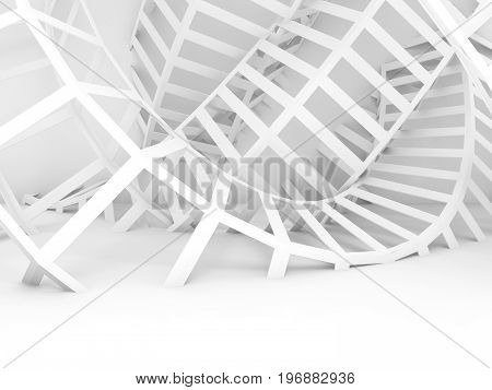 Abstract White Digital Background, Twisted Wire 3D