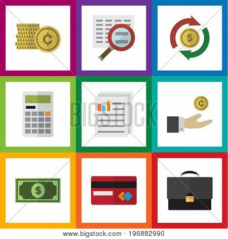 Flat Icon Finance Set Of Interchange, Document, Scan And Other Vector Objects