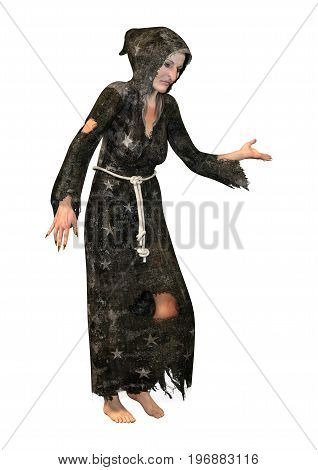 3D Rendering Fantasy Witch On White