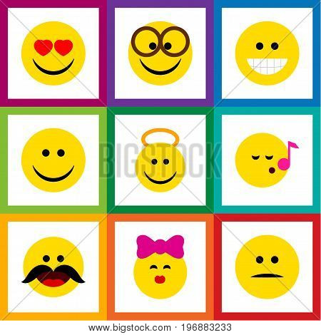 Flat Icon Emoji Set Of Pleasant, Displeased, Angel And Other Vector Objects