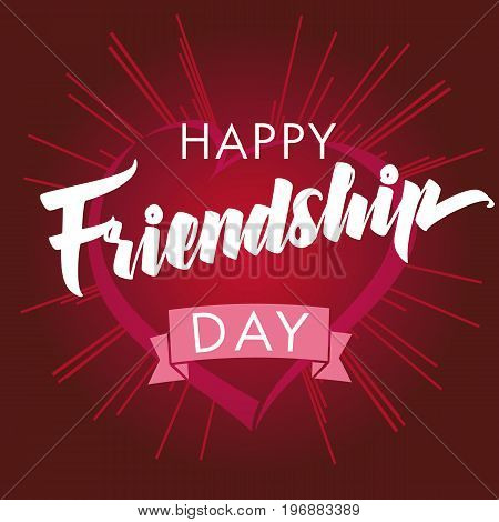 Happy Friendship day vector typographic design, inspirational quote about friendship. Happy Friendship Day heart and beams greeting card