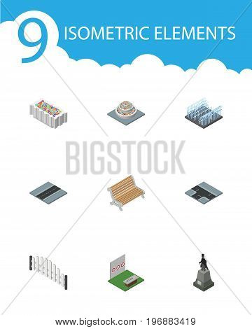 Isometric City Set Of Sculpture, Path, Barricade And Other Vector Objects