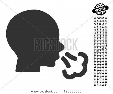 Sneezing icon with black bonus men symbols. Sneezing vector illustration style is a flat gray iconic symbol for web design, app user interfaces.
