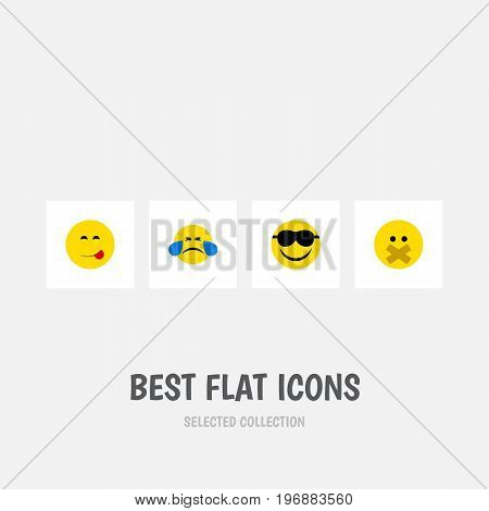 Flat Icon Emoji Set Of Cold Sweat, Happy, Hush And Other Vector Objects