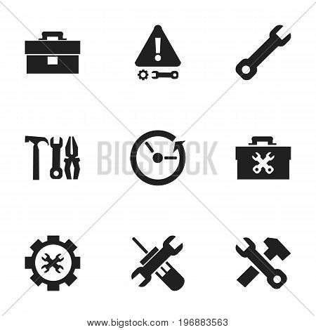 Set Of 9 Editable Repair Icons. Includes Symbols Such As Options, Wrench, Caution And More