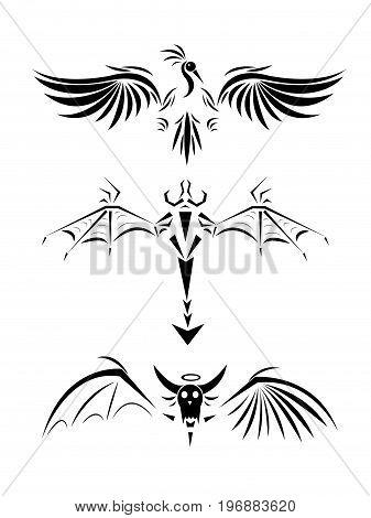 Three tattoo of a back, a bird, a dragon, a monster