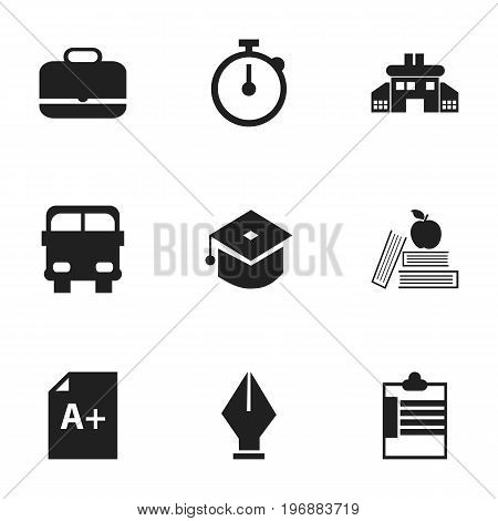 Set Of 9 Editable Knowledge Icons. Includes Symbols Such As Timer, Ceremony, Kindergarten And More