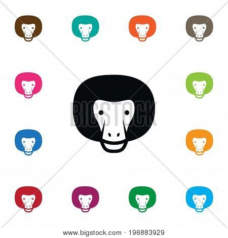 Chimpanzee Vector Element Can Be Used For Chimpanzee, Gorilla, Baboon Design Concept.  Isolated Gorilla Icon.