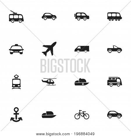 Set Of 16 Editable Shipment Icons. Includes Symbols Such As Tramcar, Shipping, Lorry And More