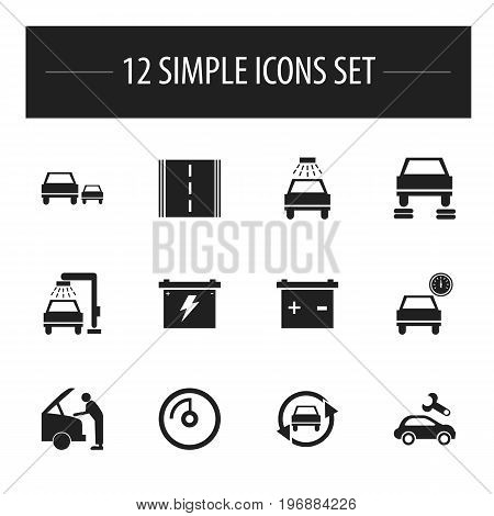 Set Of 12 Editable Vehicle Icons. Includes Symbols Such As Repair, Tuning Auto, Race And More