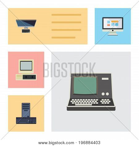 Flat Icon Laptop Set Of Computer, PC, Display And Other Vector Objects