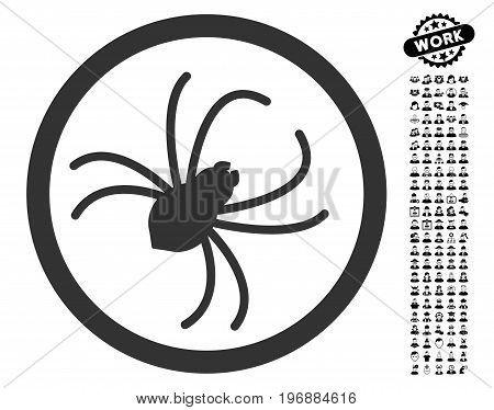 Spider icon with black bonus men pictograph collection. Spider vector illustration style is a flat gray iconic element for web design, app user interfaces.