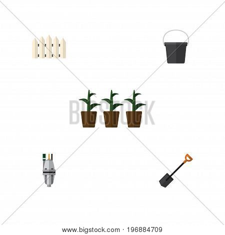 Flat Icon Dacha Set Of Flowerpot, Pump, Spade And Other Vector Objects