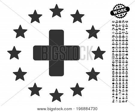 Starred Medical Cross icon with black bonus profession pictures. Starred Medical Cross vector illustration style is a flat gray iconic element for web design, app user interfaces.