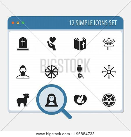 Set Of 12 Editable Religion Icons. Includes Symbols Such As Save Love, Tombstone, Masonic And More
