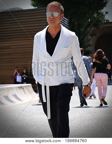 FLORENCE- 13 June 2017 Tiberio Pellegrinelli on the street during the Pitti