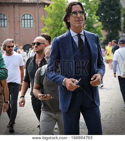 FLORENCE- 14 June 2017 Francesco Celentano on the street during the Pitti