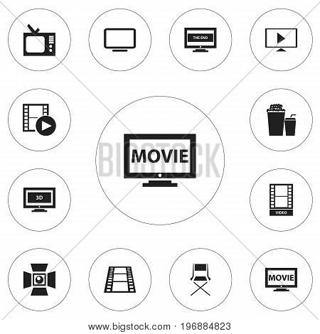 Set Of 12 Editable Movie Icons. Includes Symbols Such As Start Video, Record, Movie And More