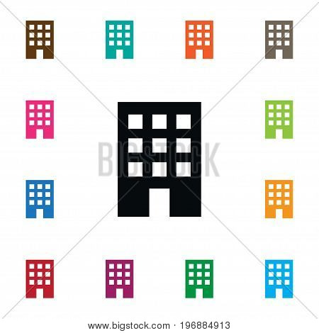 Residential Vector Element Can Be Used For Building, Apartment, Residential Design Concept.  Isolated Apartment Icon.
