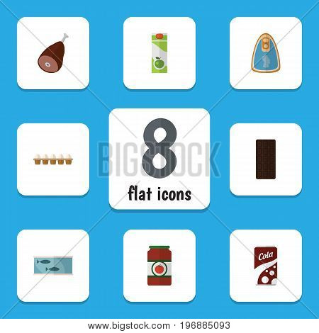 Flat Icon Eating Set Of Eggshell Box, Fizzy Drink, Packet Beverage And Other Vector Objects