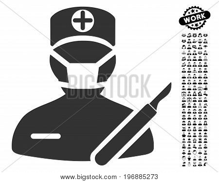 Surgeon icon with black bonus profession graphic icons. Surgeon vector illustration style is a flat gray iconic element for web design, app user interfaces.