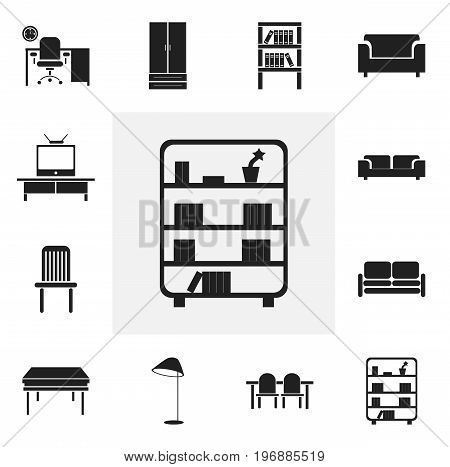 Set Of 12 Editable Interior Icons. Includes Symbols Such As Divan, Trestle, Seat And More