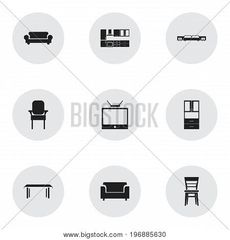 Set Of 9 Editable Furniture Icons. Includes Symbols Such As Trestle, Wardrobe, Mattress And More