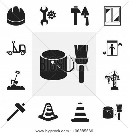 Set Of 12 Editable Structure Icons. Includes Symbols Such As Warning Cone, Hammer, Shovel And More