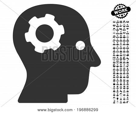 Thinking Gear icon with black bonus men pictograms. Thinking Gear vector illustration style is a flat gray iconic symbol for web design, app user interfaces.