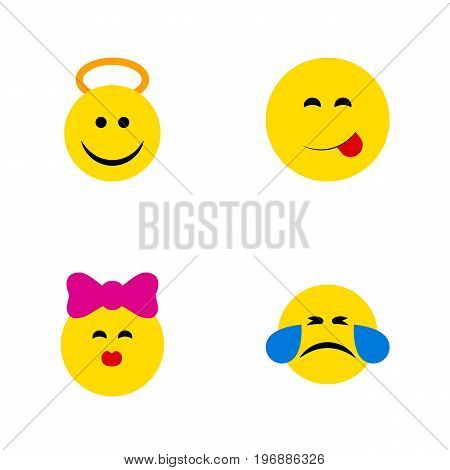 Flat Icon Emoji Set Of Cold Sweat, Angel, Caress And Other Vector Objects