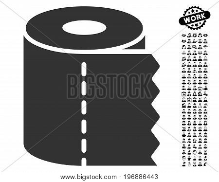 Toilet Paper Roll icon with black bonus job symbols. Toilet Paper Roll vector illustration style is a flat gray iconic symbol for web design, app user interfaces.