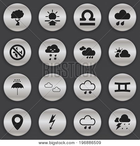 Set Of 16 Editable Air Icons. Includes Symbols Such As Twins, Winter Parasol, Current Shock And More