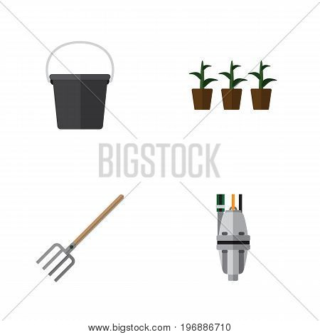 Flat Icon Garden Set Of Pump, Flowerpot, Hay Fork And Other Vector Objects