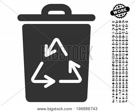 Trash Can icon with black bonus profession clip art. Trash Can vector illustration style is a flat gray iconic element for web design, app user interfaces.