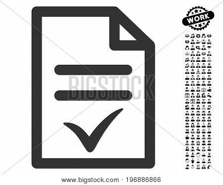 Valid Document icon with black bonus people images. Valid Document vector illustration style is a flat gray iconic element for web design, app user interfaces.