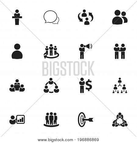 Set Of 16 Editable Community Icons. Includes Symbols Such As Command, Friendship, Speaker