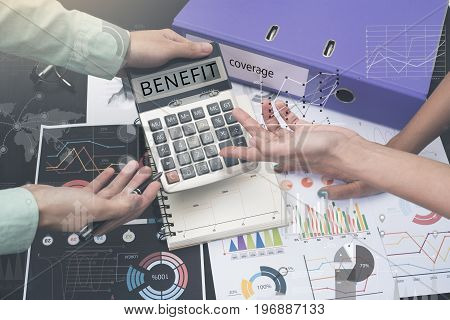 business accountant with document graph financial and calculator. concept finance benefit.