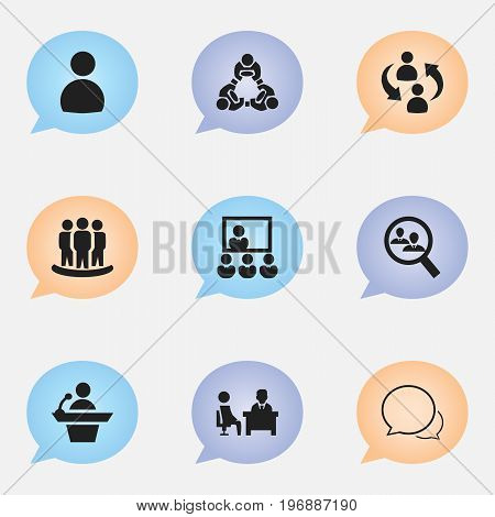 Set Of 9 Editable Community Icons. Includes Symbols Such As Human Resouces, Cooperation, Publicity And More