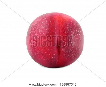 Healthy, organic and bright pink peach, isolated on a white background. Single fresh ripe peach. Summer harvest of fresh peach. Ripe and juicy peaches from a garden.