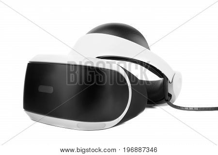 Professional audio equipment or virtual reality helmet, isolated on a white background. Toy for childrens and adults. White and black virtual reality goggles on studio background.