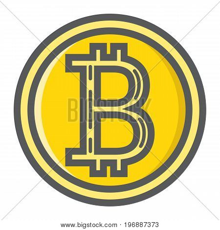 Bitcoin coin filled outline icon, business and finance, virtual money sign vector graphics, a colorful line pattern on a white background, eps 10.