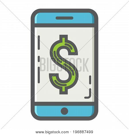 Mobile banking filled outline icon, business and finance, phone sign vector graphics, a colorful solid pattern on a white background, eps 10.