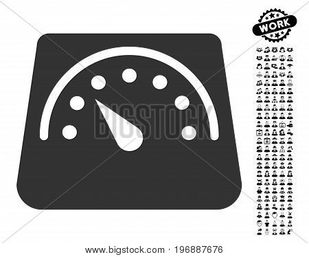 Weight Meter icon with black bonus job pictograph collection. Weight Meter vector illustration style is a flat gray iconic symbol for web design, app user interfaces.