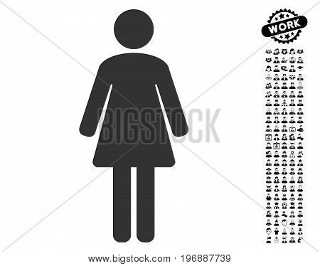 Woman icon with black bonus professional design elements. Woman vector illustration style is a flat gray iconic element for web design, app user interfaces.