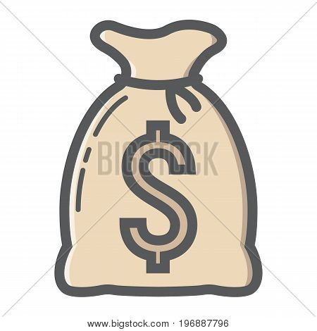 Money bag filled outline icon, business and finance, dollar sign vector graphics, a colorful line pattern on a white background, eps 10.
