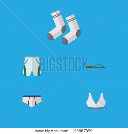 Flat Icon Dress Set Of Underclothes, Foot Textile, Brasserie And Other Vector Objects