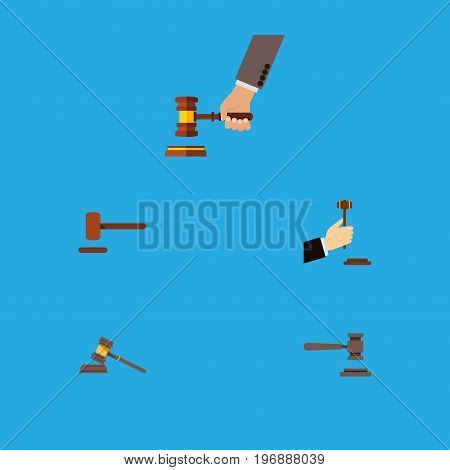 Flat Icon Lawyer Set Of Crime, Law, Defense And Other Vector Objects