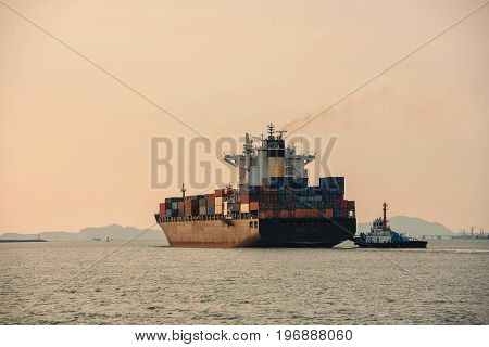 container ship in import export and business logistic.