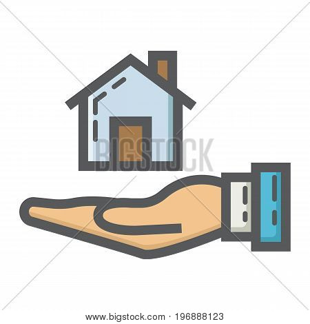 Home in hand filled outline icon, business and finance, buy house sign vector graphics, a linear pattern on a white background, eps 10.